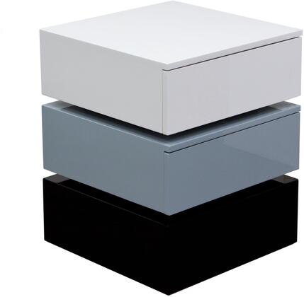 """Spark_SPARKNSGR_18""""_Tri-Color_Square_Accent_Table_with_2_Push_Open_Drawers__Soft_Closing_Function_and_a_High_Gloss_Finish_in"""