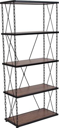 Vernon Hills Collection NAN-JN21720B5-GG 25 inch  Bookcase with Shelves  Chain Accent Frame  Black Powder Coated Frame and Laminate Materials in Antique Wood