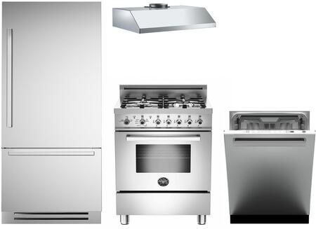 4-Piece Stainless Steel Kitchen Package with REF30PIXR 30 inch  Bottom Freezer Refrigerator  PRO244GASX 24 inch  Freestanding Gas Range  KU24PRO1XV 24 inch  Wall Mount Hood