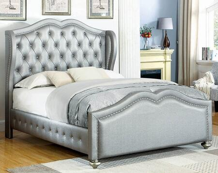 Belmont Collection 300824Q Queen Size Bed with Leatherette Upholstery  Crystal Button Tufting  Nailhead Trim and Wood Frame Construction in