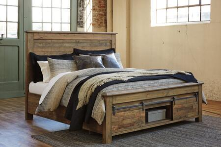 Sommerford Collection B775-78-76S-95S California King Size Bed with Under Bed Storage  Sliding Barn Door Footboard  Distressing Details and Reclaimed Pine
