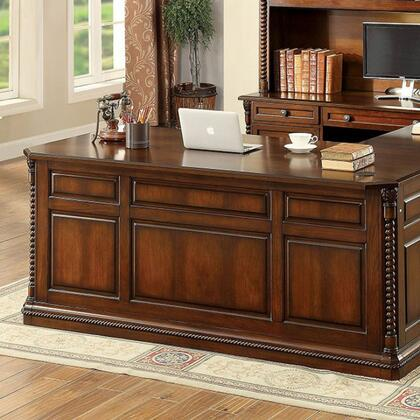 Lavinia CM-DK6382D Writing Desk with Traditional Style  Ornate Rope-like Design  Multiple Drawers  Solid Wood  Wood Veneer  Others* in Dark