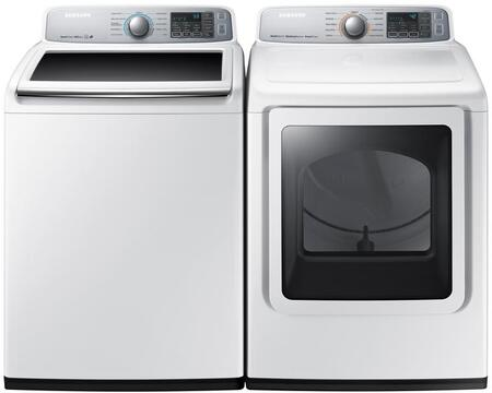 "White Top Load Laundry Pair with WA50M7450AW 27"""" Washer and DVG50M7450W 27"""" Gas"" 799660"