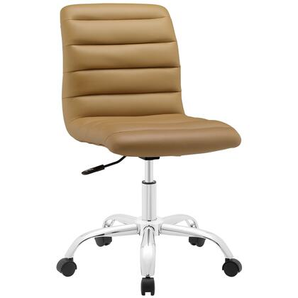 Ripple Collection EEI-1532-TAN Armless Office Chair with Swivel Seat  Adjustable Height  Polished Chrome Hooded Base  Five Dual-Wheel Nylon Casters  Mid High