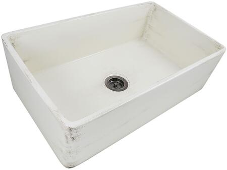 Vineyard Collection FCFS3320S-ShabbyStraw 33 inch  Single Bowl Farmhouse Fireclay Sink with Porcelain Enamel Glaze Finish and Distressed Detailing in Pale