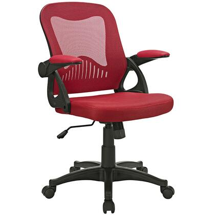 Advance Collection EEI-2155-RED Office Chair with 90 Degree Rotating Armrests  Dual-Wheel Casters  One-Lever Height Adjustment  Full 360-Degree Swivel and Mesh