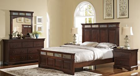 00455110120130dmnn 5 Piece Bedroom Set With King Madera Bed  Dresser  Mirror And Two Nightstands  In
