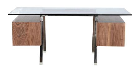 DESK-HOMEWORK-WAL Homework Desk Double Cube Mid-Century Modern  Walnut/Stainless