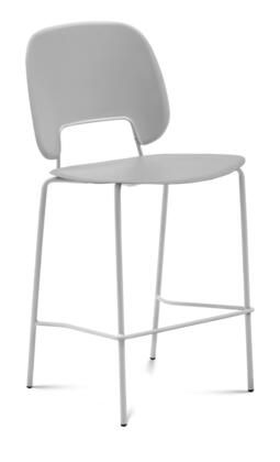 TRAFF.R.A0F.BI.PGC Traffic Stacking Chair with White Lacquered Steel Frame  Polypropylene Back and Seat in Light Grey