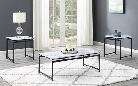708153 3-Piece Living Room Table Set with Coffee Table  2 End Tables  Faux Marble Table Tops and Metal Frame in White and Dark