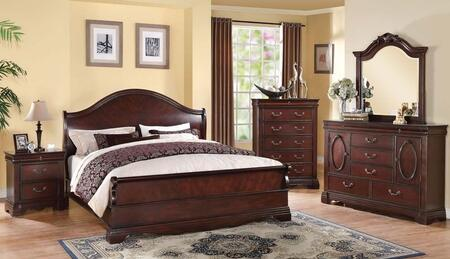 22724CKDMCN Beverly California King Size Panel Bed + Dresser + Mirror + Chest + Nightstand in Dark Cherry