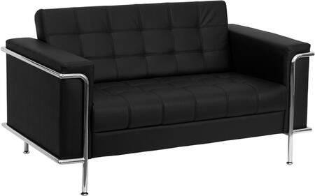 ZB-LESLEY-8090-LS-BK-GG HERCULES Lesley Series Contemporary Black Leather Love Seat with Encasing