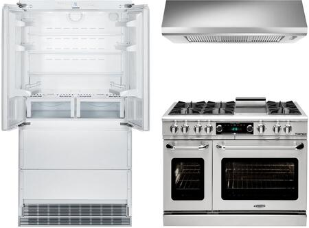 3-Piece Kitchen Package with HCB2062 36 inch  French Door Refrigerator  COB484G2N 48 inch  Freestanding Gas Range  and MAES4818SS1200B 48 inch  Under Cabinet Convertible Hood