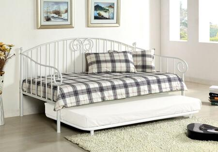 Hamden Collection CM1603WH Twin Size Daybed with Curved Design  Link Spring Included and Metal Contruction in White