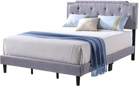 Starlight Collection G1104-FB-UP Full Size Bed with Tufted Headboard and Support Slats and Legs in Light Grey