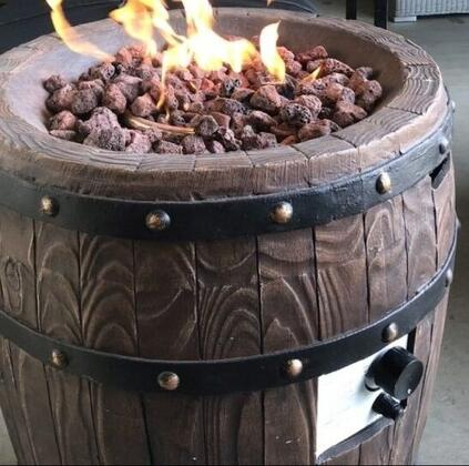 DM-GFP-007A-LR 26 inch  Wine Barrel Gas Fire Pit with Magnesium Oxide Material  Stainless Steel Burner  Gas Valve and Door in Brown