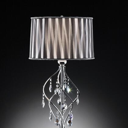 Arya L95123T Table Lamp with Crystal Lamp  Metal base  Black Sheer Ribbon shade: 15