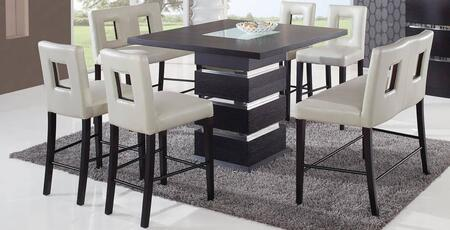 DG072BTDG0724BS2BNBEI 7-Piece Bar Set with Bar Table  4 Bar Stools and 2 Bar Benches in Wenge and