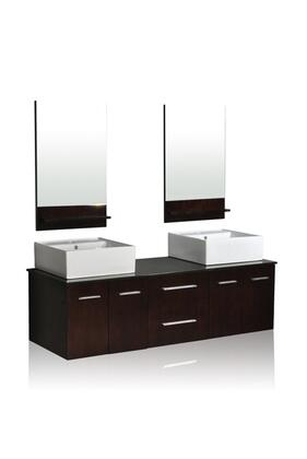 DW1D4-60-ESP Belmont Decor Skyline double vessel sink vanity with Marble Top  Simple Pulls  and Mirror in