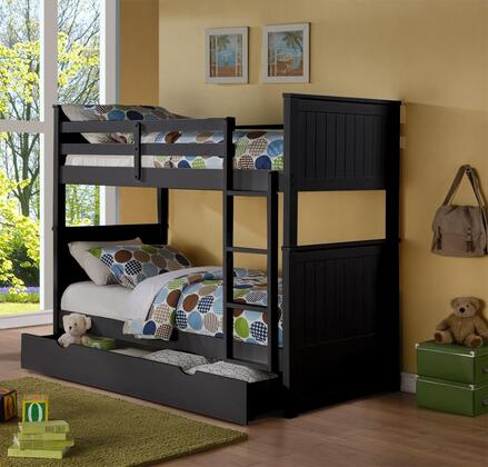 Sasha Collection Twin Over Twin Size Bunk Bed with Trundle Included  Ladder Included  Solid Hardwood Construction and Wood Veneer Materials in Black