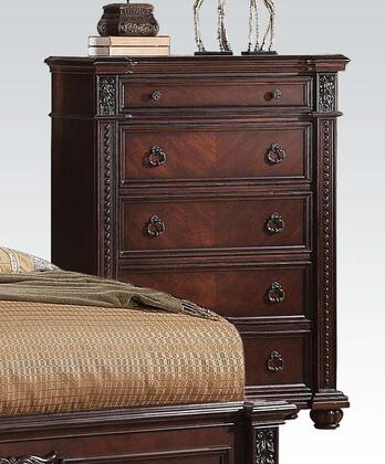 Daruka Collection 21316 38 inch  Chest with 4 Drawers  1 Jewelry Drawer  Pumpkin Bun Feet  Poplar and Worming Cherry Veneer Construction in Distressed Cherry