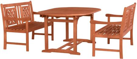 Malibu Collection V144SET47 3 PC Outdoor Patio Dining Set with 2 Benches  Rectangular Shaped Table  Umbrella Hole  Rustic Style and Eucalyptus Solid Wood