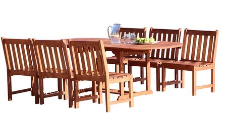 V144SET39 Malibu Outdoor 7-Piece Wood Patio Dining Set With Extension Table & Armless