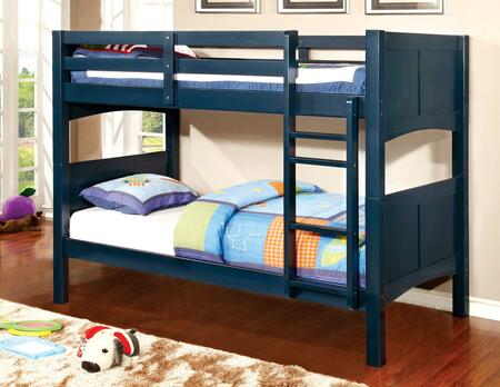 Prismo II Collection CM-BK608T-BL-BED Twin Over Twin Size Bunk Bed with Attached Ladder  Guard Rails  Solid Wood and Wood Veneers Construction in Blue