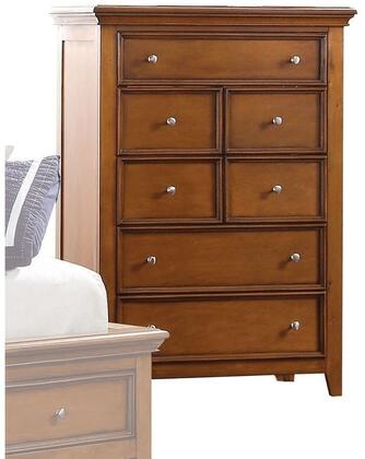 Lacey Collection 30561 36 inch  Chest with 5 Drawers  Raised Recessed Panels  Nickel Metal Knobs  Tapered Legs and Pine Wood Construction in Cherry Oak