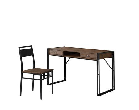 801741 2-Piece Desk Set with Writing Desk and Chair in Weathered Chestnut and
