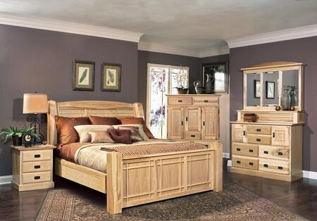 AHINT5170K4P Amish Highlands 4-Piece Bedroom Set with Arch Panel King Bed  Dresser  Mirror and Single