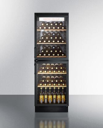 "SWC-1775 24"" Wine Cellar with 120-Bottle Capacity  5 Wooden Wine Racks  Fluorescent Light and 2 Tinted Glass Doors (Image Shown with 7"