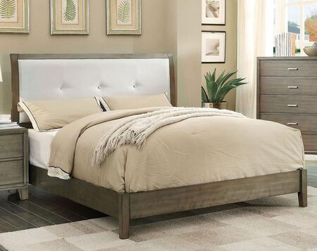 Enrico I Collection CM7068GY-F-BED Full Size Platform Bed with Leatherette Headboard Upholstery  Button Tufting  Solid Wood and Wood Veneer Construction in