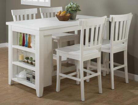 Madaket Collection 64760SET 5 PC Bar Table Set with Counter Height Table + 4 Bar Stools in White