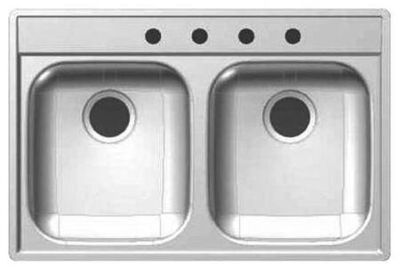 DS804N 33 inch  Double Bowl Drop-In Sink  20 Gauge Stainless Steel  Sheen Deck  Sheen Bowls  4 Faucet Holes