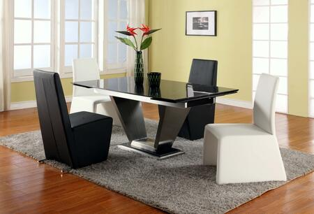 JESSY-CYNTHIA-BLK JESSY DINING 5 Piece Set - Black Marquis Solid Marble Dining Table with 4 Black Fully Upholstered Modern