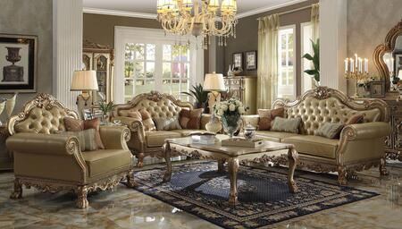 Dresden 53160SLCT 6 PC Living Room Set with Sofa + Loveseat + Chair + Coffee Table + 2 End Tables in Gold Patina