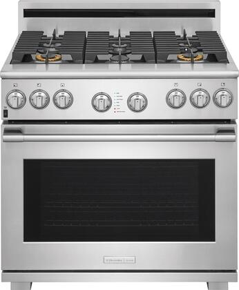 E36GF76TPS 36 inch  Pro Style Gas Range with 6 Burners  6.4 cu. ft. Oven Capacity  CustomConvect Convection  Smooth-Glide Oven Racks  in Stainless