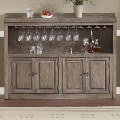 620043GLA Martino Series Storage Cabinet with Oak Veneer Construction  2 Shelves  4 Cabinets  Stemware Storage Rack and Charcoal Bronze Accent Hardware: