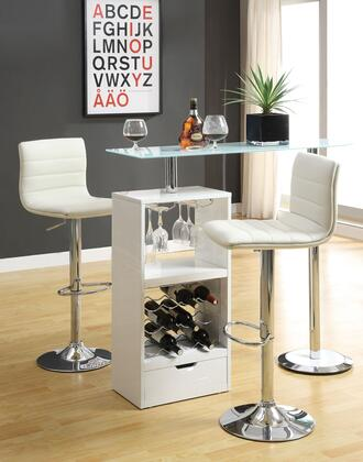 Bar Units and Bar Tables 120452TC 2 PC Bar Set with Bar Table + Bar Stools in White