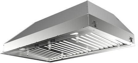 INPL3619SSNBB 36 inch  Inca Pro Plus Series Range Hood Insert with Stainless Steel Baffle Filters  LED Lighting  and Variable Speed Control  in Stainless