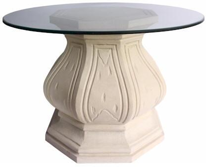Louis XIV Collection TB-O2828-42 42 Octagonal Entry Hallway Table with Octagonal Limestone Base and Glass Top in a Natural Beige