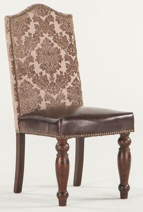 Emilia ZWEI63AR 20 inch  Dining Chair with Nail Head Trim  Brown Leather Seat Upholstery and Fabric Upholstered Back in Acanthus Rose