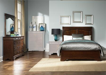 Alexandria Collection 722-BR-KSLDM 3-Piece Bedroom Set with King Sleigh Bed  Dresser and Mirror in Autumn Brown