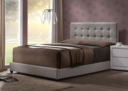 Duggan 1996BQR Queen Sized Bed with Headboard  Footboard and Rails in Light Linen Gray