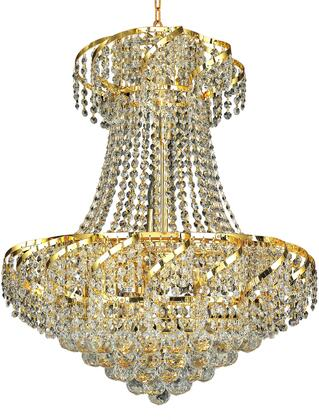 VECA1D22G/EC Belenus Collection Chandelier D:22In H:26In Lt:11 Gold Finish (Elegant Cut