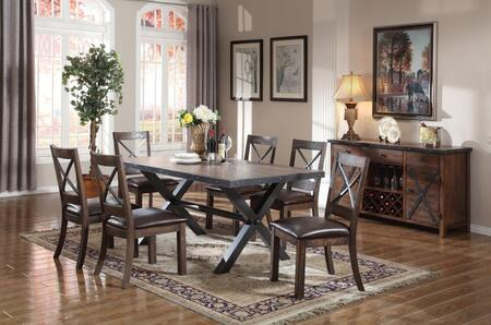 Earvin Collection 722308SET 8 PC Dining Room Set with Rectangular Shaped Dining Table  Server and 6 Espresso PU Leather Upholstered Side Chairs in Weathered