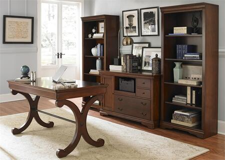 Brookview Collection 378-HO-4PD 4-Piece Home Office Set with Writing Desk  Credenza and 2 Bookcases in Rustic Cherry