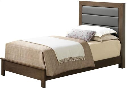 G2405A-TB Twin Size Panel Bed with Upholstered Headboard and Wood Construction in Grey