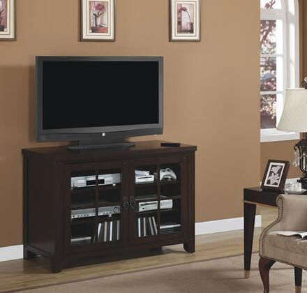 TC48-1066-O128 48 inch  TV Console with Tempered Glass Windowpane Doors  Adjustable Hinges  Designed to Hold a 55 inch  Television and Adjustable Shelves in Caramel